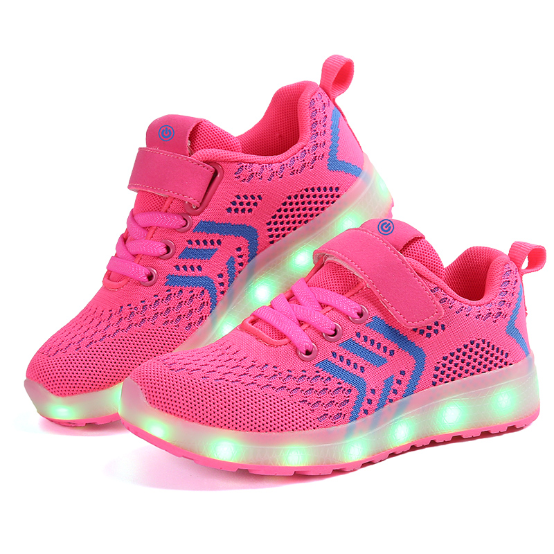 2018 Child Jazzy Junior girls boy LED light sports shoes for children kids jogging sneakers with USB rechargeable sale items