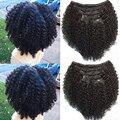 Brasileño de la virgen del pelo clip en la extensión del pelo humano 10-20 pulgadas rizado rizado clip en extensiones del pelo 100 g/set 10 unids/set envío gratis