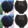 Brasileira grampo de cabelo virgem na extensão do cabelo humano 10-20 polegada clipe crespo crespo em extensões do cabelo 100 g/set 10 pçs/set navio livre