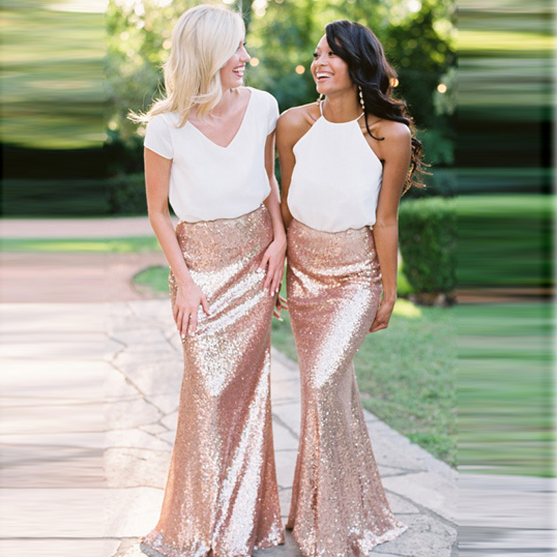 ca33e7cdab658 Rose Gold Women Sequin Skirts Long High Zipper Waist Bridesmaid Sister  Bottom Maxi Skirt Saia Lady Formal Party Plus size Custom