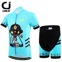 Cheji New 2016 Kids Cycling Jersey Suit Summer Children Bike Clothing Set Cute Blue Printed Bicycle