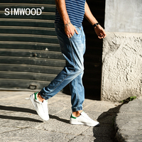 SIMWOOD 2017 Summer New Jeans Men Drawstring Elastic Waist Ankle Tied 100 Pure Cotton Denim Pants