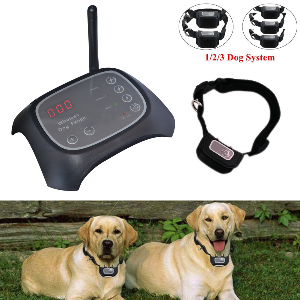 Wireless Electric Pets Dog Training Collar Fence Containment Waterproof Transmitter Training System 2018ing