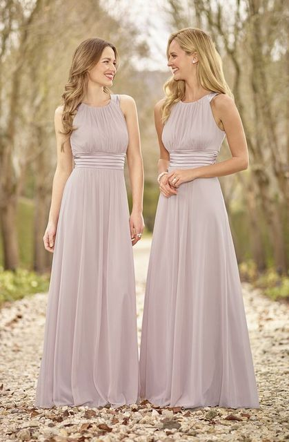 d75402694eb wejanedress customized Sleeveless High Neck Long Chiffon Dusty Pink  Bridesmaid Dresses 2017 Cheap robe demoiselle d honneur