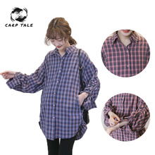 Pregnant Women Plaid Blouse Shirts 2019 Spring Fall Vintage Lapel Long Sleeve Pregnancy Tops Plus Size Maternity Clothings