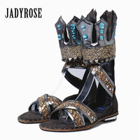 Jady Rose Crown Design Bling Crystal Flat Sandals Women Gladiator Sandal Genuine Leather Summer Boots Female