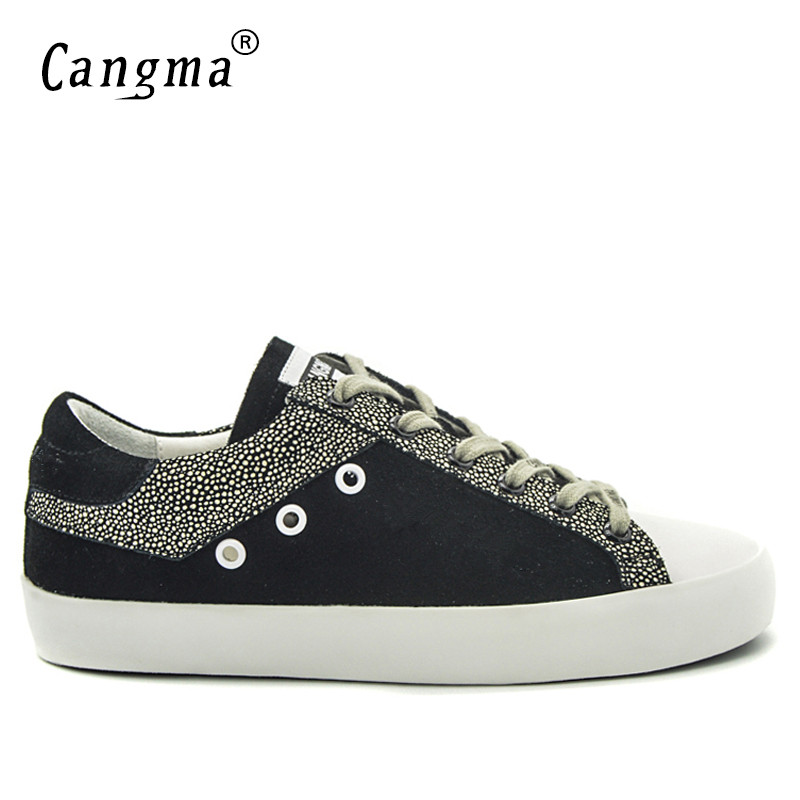 CANGMA Men Sneakers Balck White Breathable Genuine Leather Men Shoes Plus Size Valentine Shoes Casual Footwear