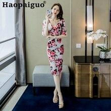 цены Flare Sleeve Print Floral Dress Women Flare Sleeve V-neck Midi Dress Women Casual Flower Dress Summer 2019 Robe Femme Ropa Mujer