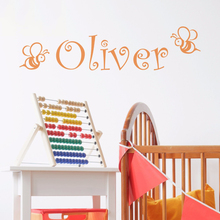 Cartoon Animal Pattern Bee With Cutsom Name Wall Sticker Kids Baby Room Decoration Fashion Cute Poster Mural Decals W285