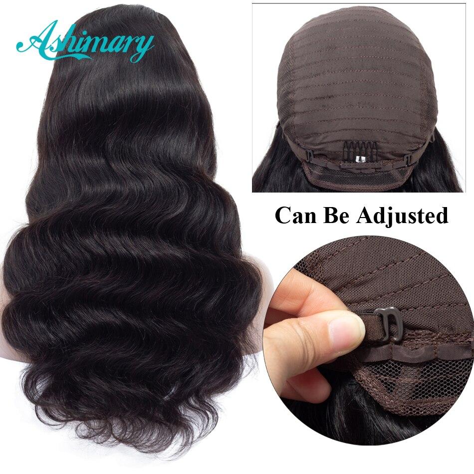 Ashimary frente de encaje pelucas de cabello humano cierre 4x4 pelucas de encaje Remy pelo brasileño de la onda del cuerpo del pelo de la peluca delantera de encaje peluca con cabello de bebé