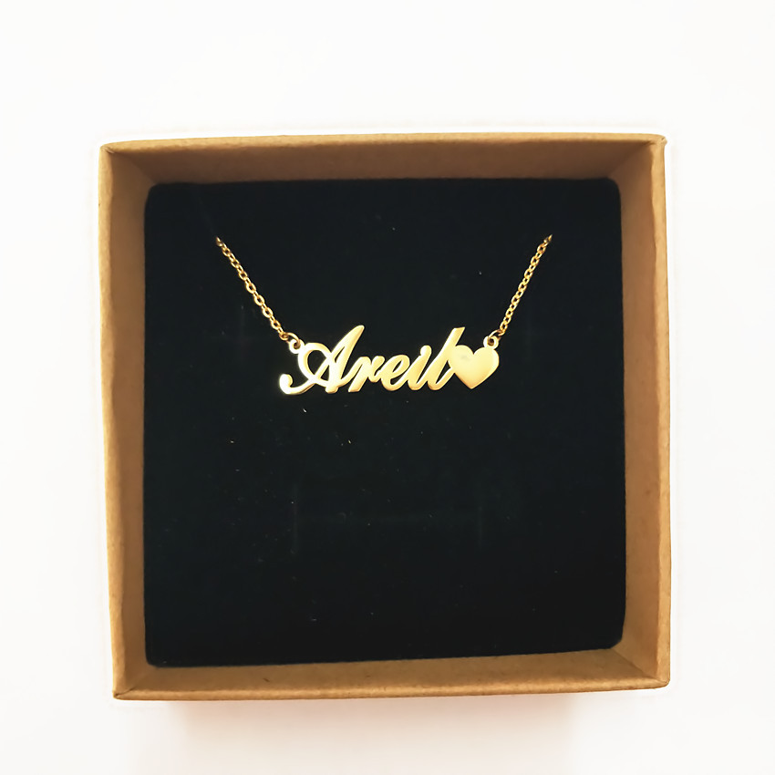 Handmade Custom Personalized Name Pendant Necklaces With Tiny Love Heart Nameplate Women Jewelry Children Girls Best Gifts