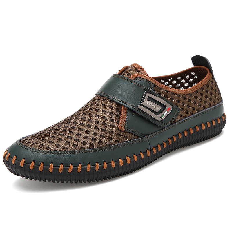 גברים של 2019 קיץ נעלי עור טלאי נעלי גבר קיץ אופנה נעליים יומיומיות לנשימה גבר סניקרס Chaussure Homme