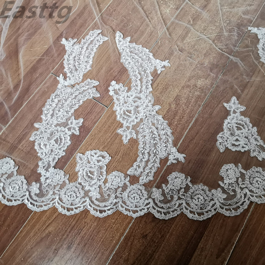2019 New 3 Meters One Layer Lace Tulle Long Wedding Veil New White Ivory 3 M Bridal Veils with Comb Velos De Novia