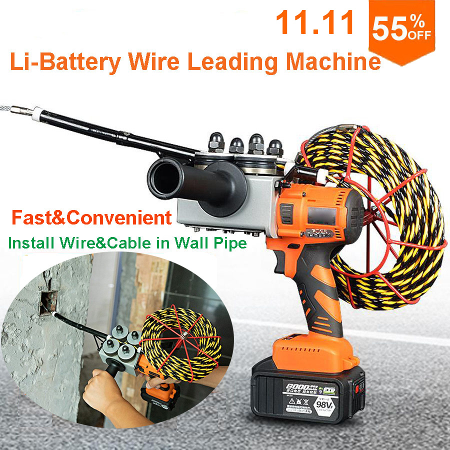 Lithium Battery Electrician Automatic Electric Wire Cable Leading Machine Artifact Wire Feeder For Electrician Wiring In Wall