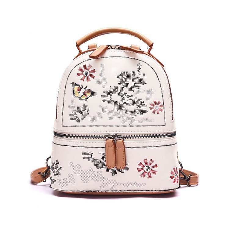Trendy Small Women Leather Backpacks Female School bags for teenage girls cute back pack Floral Embroidery Bagpack Mochila Mujer