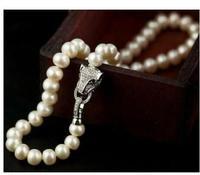 Women Genuine Charming Leopard Head Nature White 8 9 mm Pearl Women Necklace CZ clasp Genuine silver jewelry