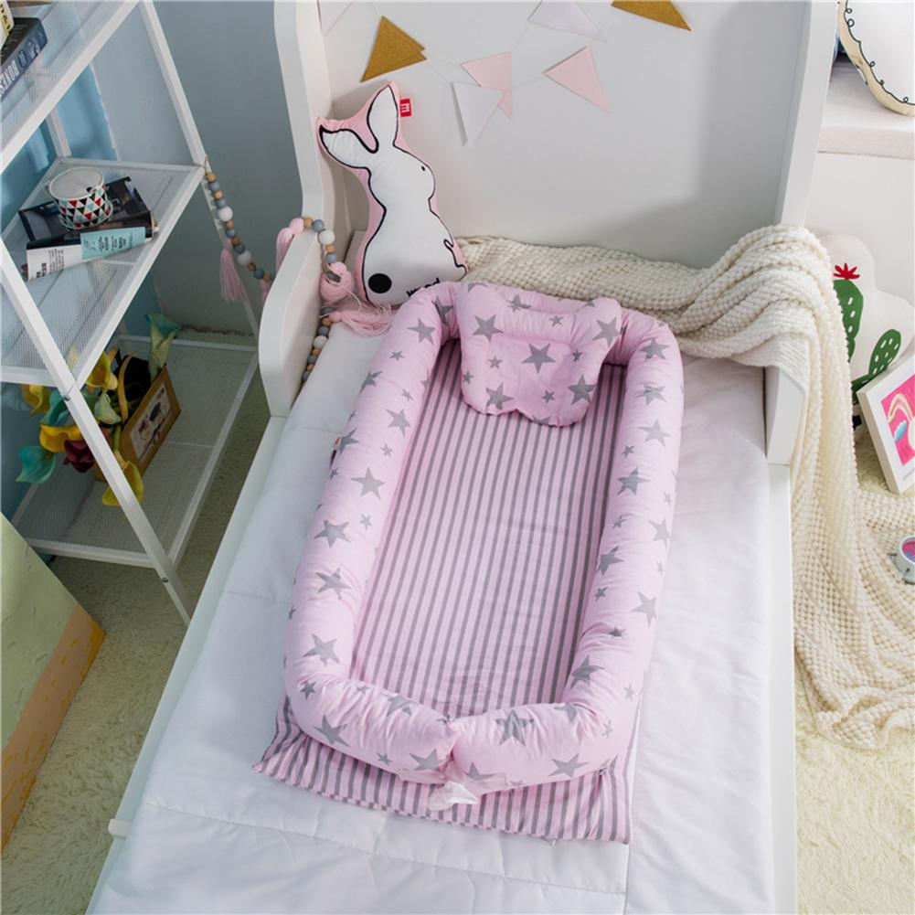 Newborns Removable Washable Print Baby Bed Detachable Baby Isolation Bed Newborn Bionic Bed Crib Bed Ruffle (Vacuum Delivery) rabbit print ruffle trim tee