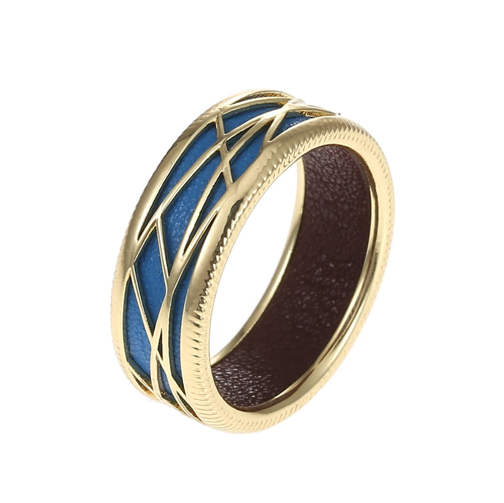 Cremo Geometry Gold Color Ring for Woman Leather DIY Color Jewelry Original Patent Femme Finger Ring in Rings from Jewelry Accessories
