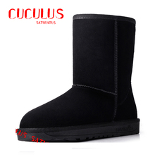 Hot Cow Suede Leather brand women snow boots comfortable black winter quality boots shoes free shipping 5825