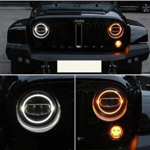 Image 5 - New Car LED 7 Inch Round Headlight DRL Turn Signal Halo Headlights For Jeep Wrangler JK TJ CJ Hummer Lada Niva 4X4 Headlamps