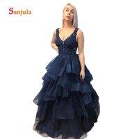 Бак Пышное Платье трапециевидной формы женское платье для выпускного бала с v образной горловиной Темно синие Вечерние платья плиссированн
