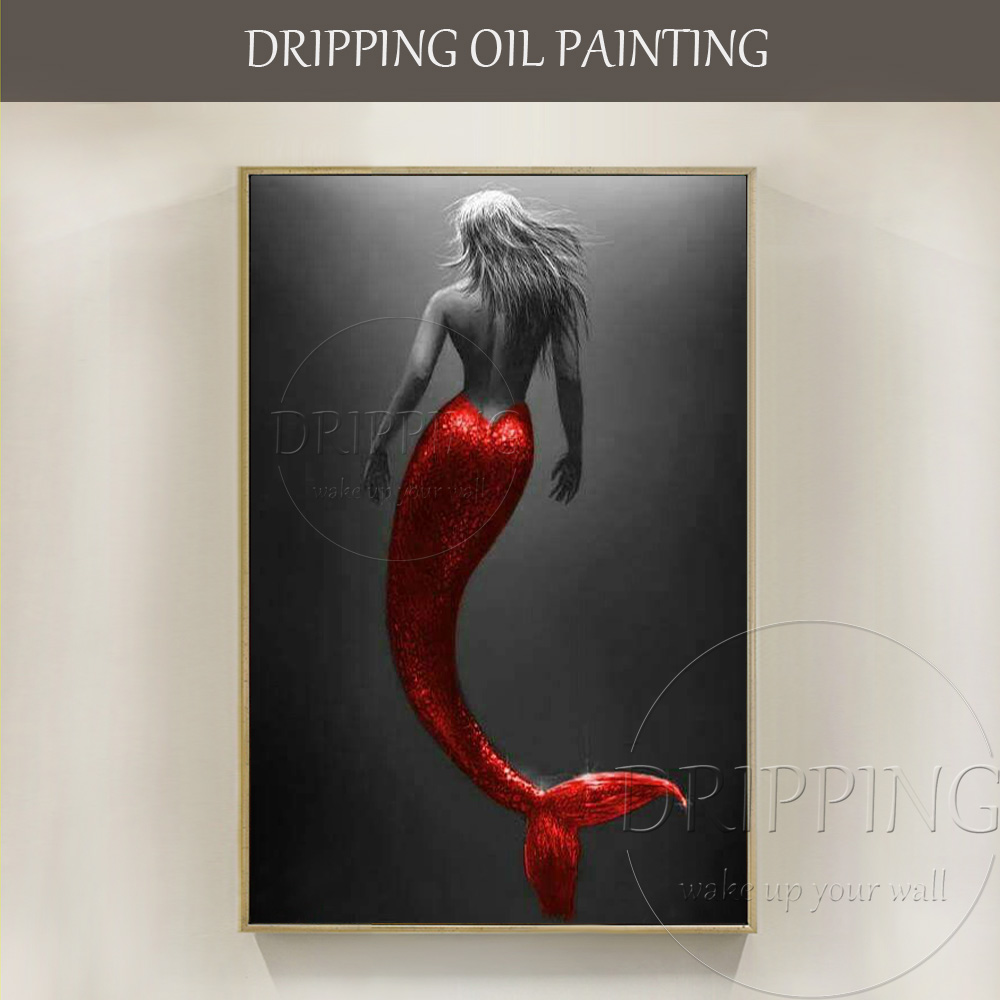 Artist Hand Painted High Quality Mermaid Oil Painting Canvas Beautiful With Red Dress