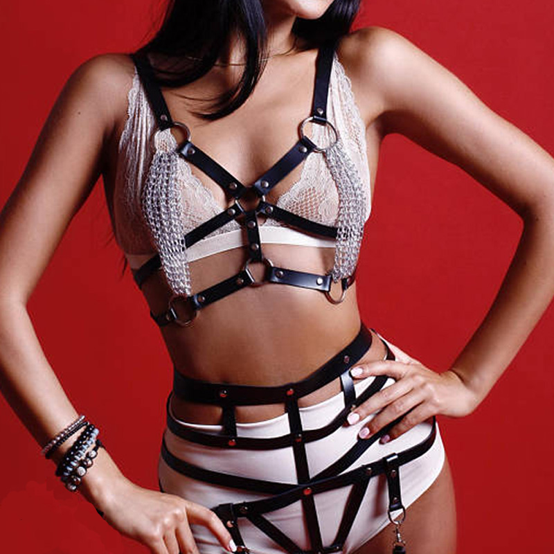 Erotic leather harness bra