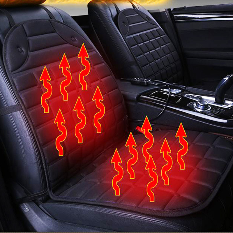 12v/24v heated car seat cushion universal electric cushions heating pads keep warm in winter car seat cover black/gray/red/blue