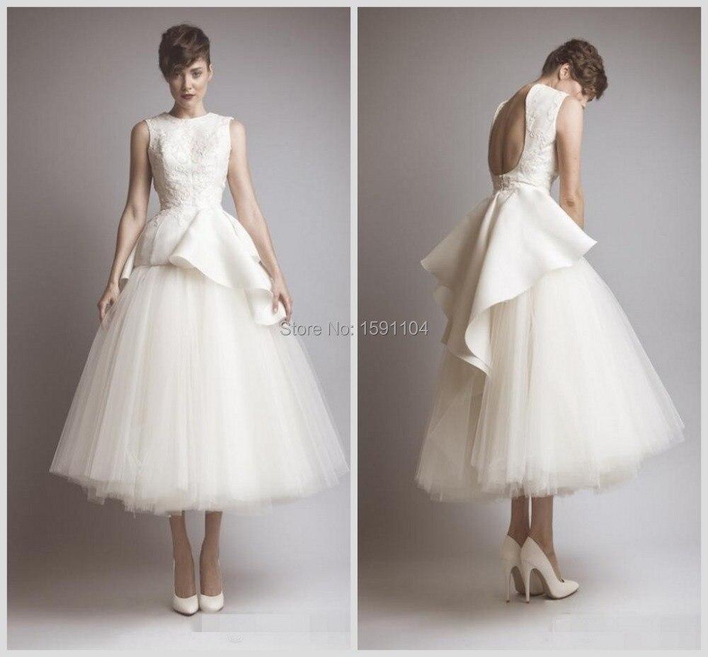 2015 unique tulle beach wedding dresses vestidos inspired for Tea length wedding dress tulle skirt