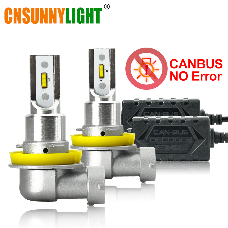 CNSUNNYLIGHT <font><b>CANBUS</b></font> <font><b>LED</b></font> Car H11/H8 9005 9006 Headlight Bulbs No Error 2400Lm 24W/pair 6000K White HB3 HB4 <font><b>H9</b></font> H16jp Auto Headlamp image