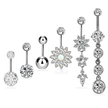 6pcs 6color Belly Button Rings Set Zircon Women Ring Navel Piercing Nombril Ombligo Lady Sexy Body Jewelry