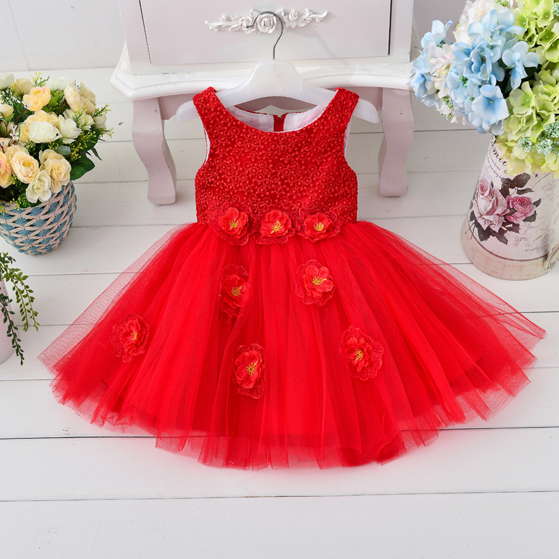 ФОТО high quality children's Clothing cute Girls Princess Dress Wedding Flower Girl Dress birthday party dresses 4 color