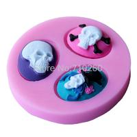 E017 Free Shipping New Arrival skull shaped 3D silicone cake fondant mold, cake decoration tools, soap, candle moulds
