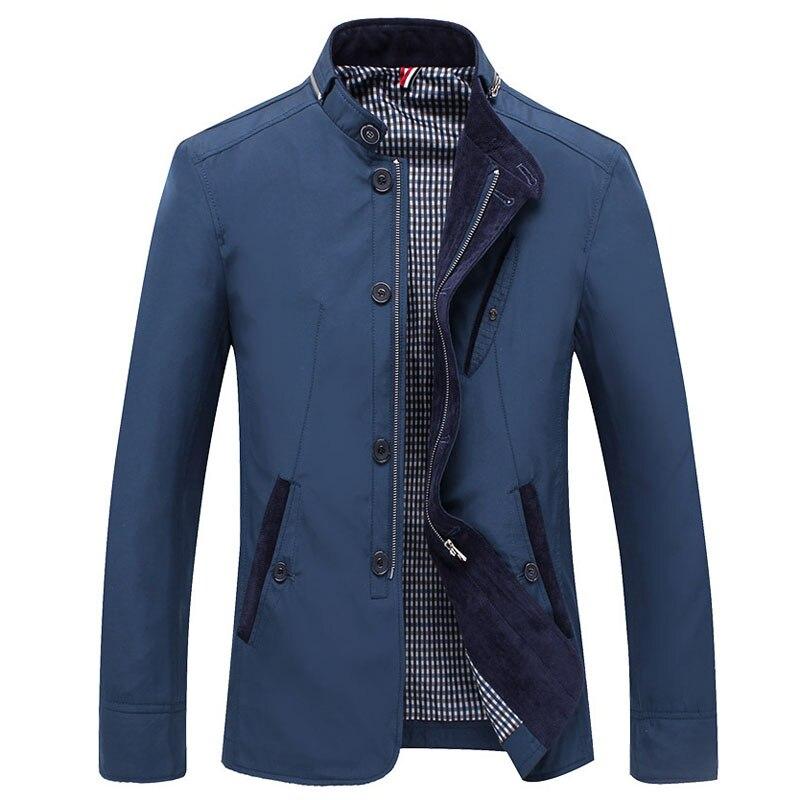 2018 봄 가을 폴리 에스테르 슬림 피트 얇은 스탠드 버튼 남성 캐주얼 자켓 남성 짧은 윈드 브레이커 자켓 코트 블루 카키 4xl