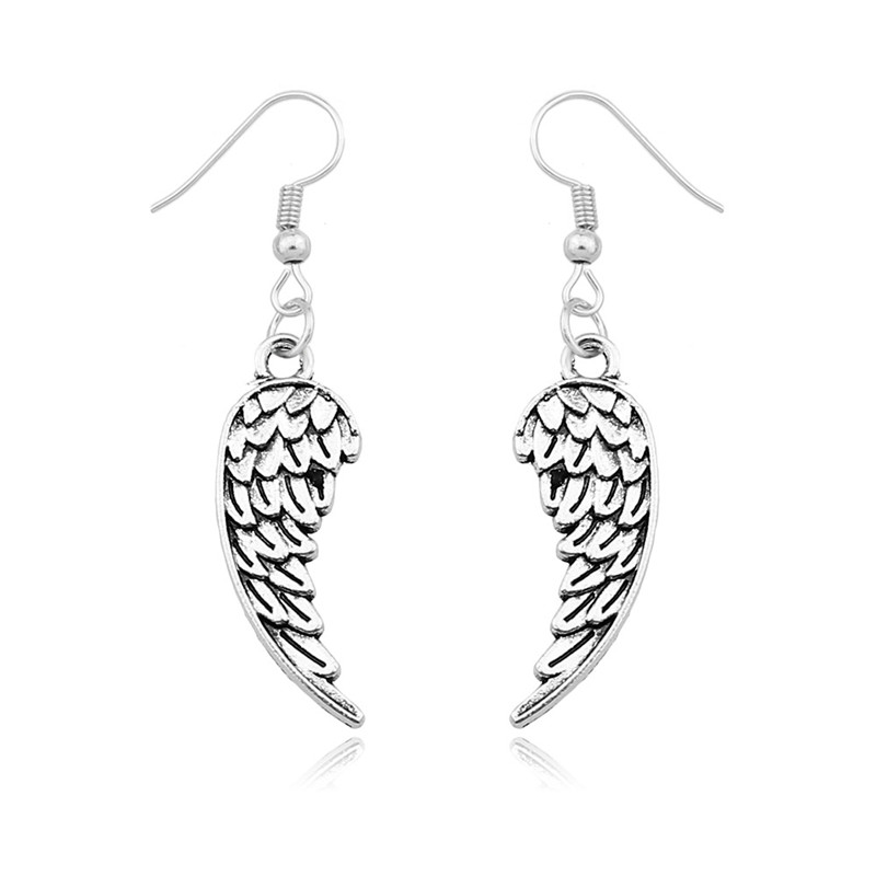 Drop Shipping Angel Wings Dangle Earrings Antique Silver Pated jewelry Gifts For Women Wholesale Drop Earring