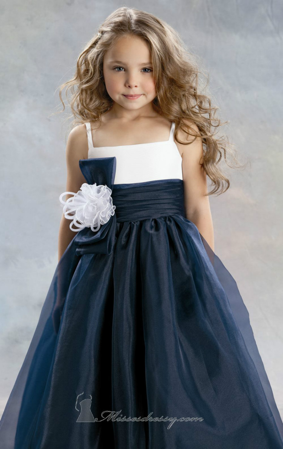 Spaghetti Straps Navy Blue White Organza Princess Flower Girl