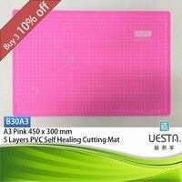핑크 3.0 미리메터 사각형 자기 치유 5 층 PVC 절단 매트 A3 45x30 cm 18x12 인치