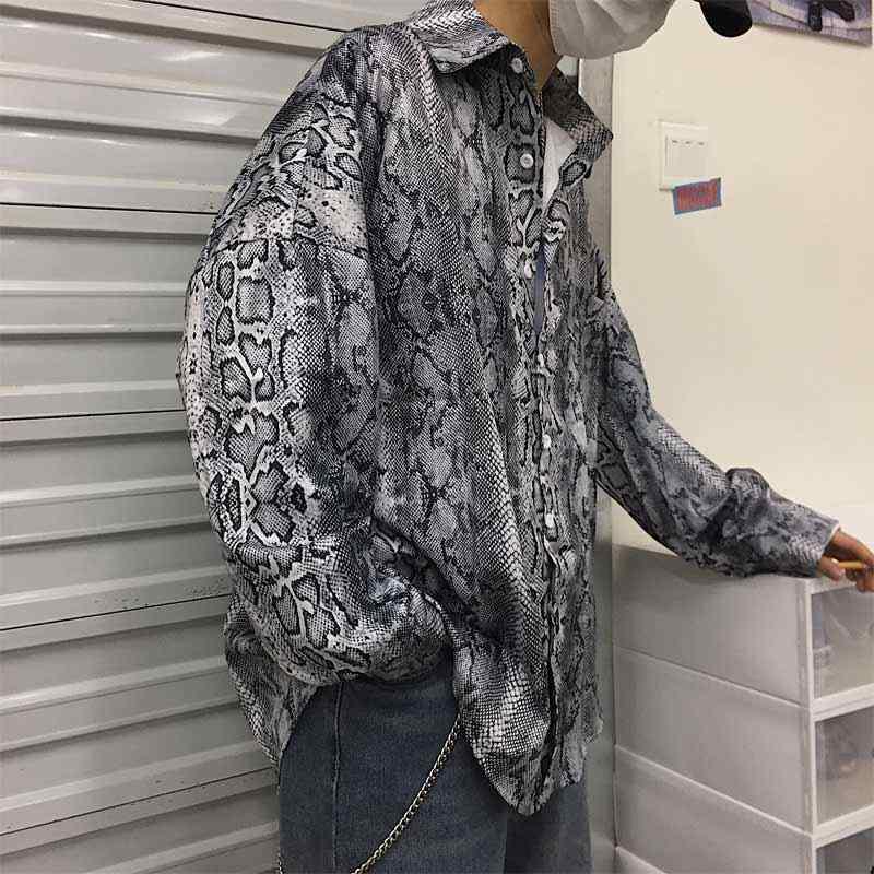 bfdf82e9 ... Streetwear Hiphop Harajuku Gothic Punk Snake Print Long Sleeve Loose  Oversized Blouse Women/Men Korean ...