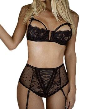 Open Bra Lace Sexy Lingerie Set Black Red Transparent Woman Sexy Set Erotic Bra+Garterbelt+High Waist Panty Sexy Costumes R80646 3