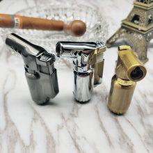 Windproof Cigarette lighter Metal Gas lighter elbow Cigar Butane Torch lighter Turbo Jet 1300 C Firepower fierce Blue flame все цены