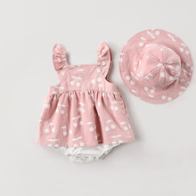 New Baby Clothes baby rompers Summer 2019 spring Fashion cute cherry Prints kids clothing dress with hat
