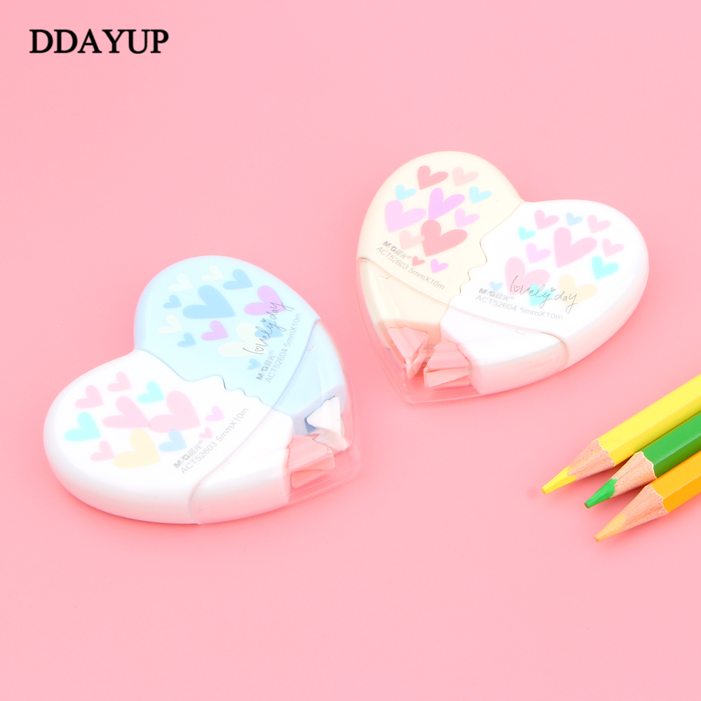 2 Pieces / Pair Creative Heart To Heart Love Correction Tape Material Eskolar Kawaii Stationery School Supplies