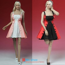 Free Shipping Play toy 1/6 Red/Pink Dress Suit Female Clothing Set for Female Seamless Body Large Bust PH Doll Toys Accessories