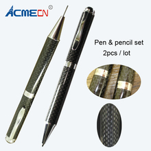 2pcs / lot Hot Sale Full Carbon Fiber Writing Pen Sets 1.0mm Ball & 0.9mm Mechanical Pencil Office Couple and Set