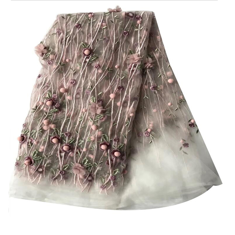 Me-dusa New Design 3D Flower Tulle Lace Hot Drilling Embroidered African Lace Wedding Dress Fabric Elegant Lace Flower 2019(China)