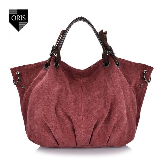 Designer ORIS High Quality Canvas Women s Handbag Fashion Shoulder Bag  Pleated Style Casual Tote Bag Large Capacity Shopping Bag e85285ba87191