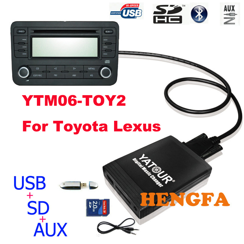 Yatour Car Digital Music Changer USB MP3 AUX adapter Player for 2005-2012 Toyota / Lexus / Scion small 6+6 pin Car Audio Radio apps2car usb sd aux car mp3 music adapter car stereo radio digital music changer for volvo s40 2001 2004 [fits select oem radio]