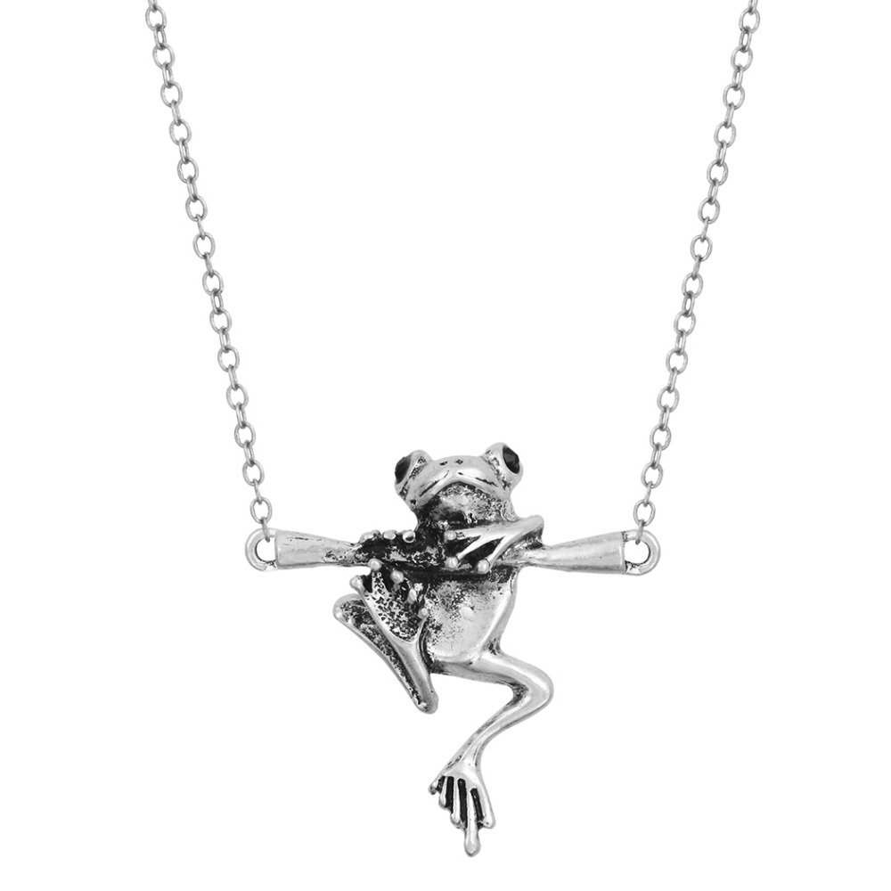 Pretty Animal Necklace Vintage 3D Realistic Baby Frog on a Branch Animal Unique Necklaces & Pendants Gift for Women Girls