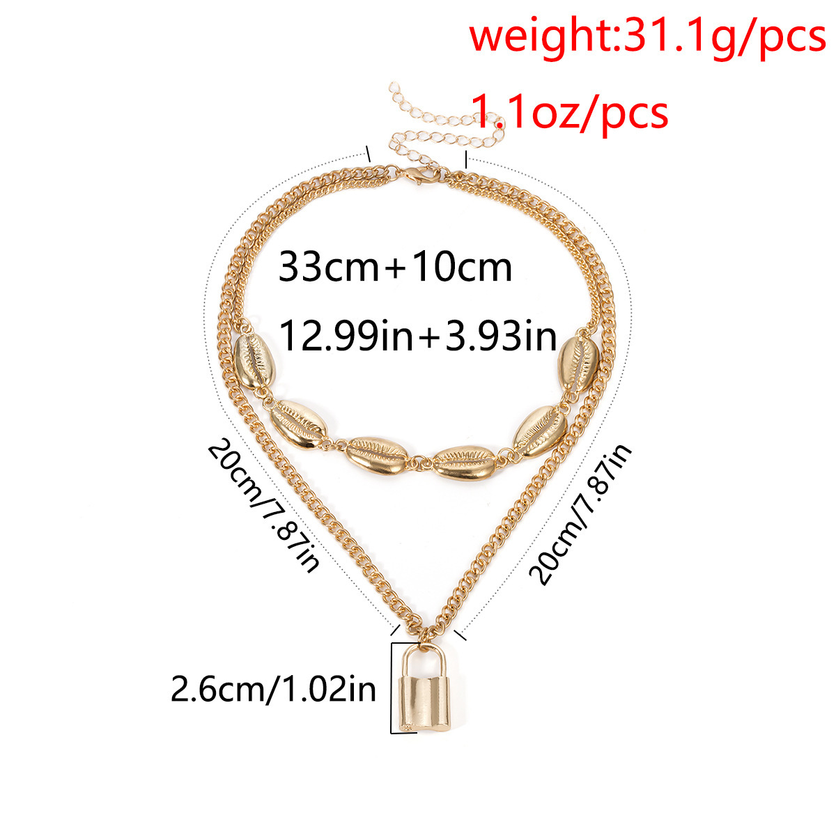 Metal Shell Necklace for Women Fashion Layered Padlock Necklace Personalized Lock Pendant Necklace Jewelry Female Neclase 2019 in Pendant Necklaces from Jewelry Accessories