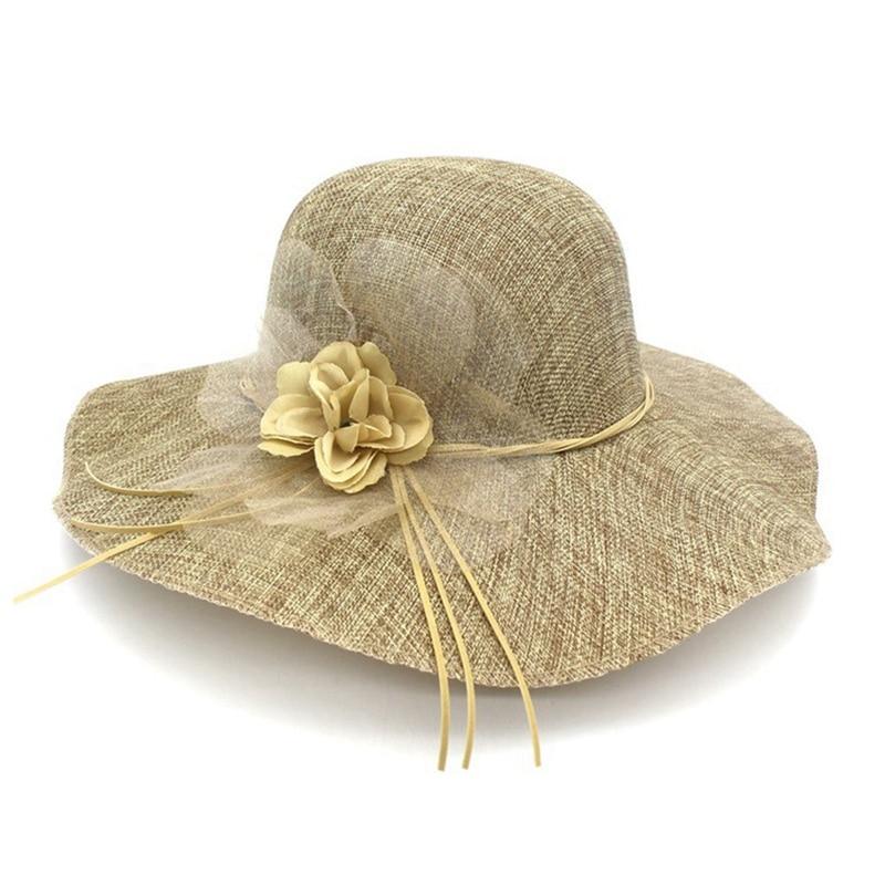 2018 Fashion Wide Design Brim Beach Summer Sun Hats For Women Organza Flower Faux Leather Bowknot Tie Female Straw Hats